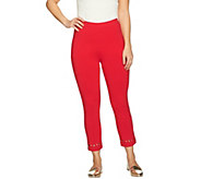 Susan Graver Weekend Cotton Spandex Crop Leggings with Grommets - A286746