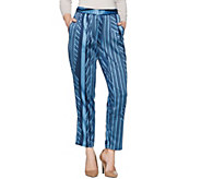 H by Halston Regular Charmeuse Linear Print Ankle Pants - A287146