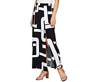 As Is Susan Graver Petite Printed Liquid Knit Six Gore Maxi Skirt Slit - A287346