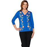 Bob Mackies Embroidered Button Front Sweater Knit Cardigan - A288446