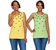 As Is Quacker Factory Set of 2 Sequin Star Tank Tops - A289546