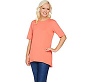 Denim & Co. Essentials Elbow Sleeve Round Neck Tunic - A290146