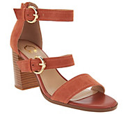 As Is C. Wonder Block Heel Suede Sandals with Buckles - Maya - A290846