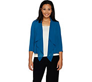 Every Day by Susan Graver Liquid Knit Cardigan with Chiffon - A297146