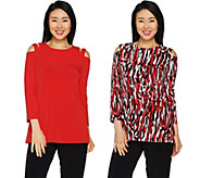 Susan Graver Printed & Solid Liquid Knit Set of 2 Cold Shoulder Tunics - A301146