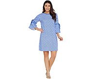 Isaac Mizrahi Live! Gingham T-Shirt Dress with Cutaway Sleeve Detail - A305246