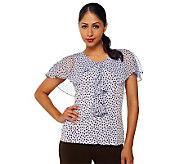 George Simonton Printed Milky Knit Top w/ Georgette Capelet - A87346