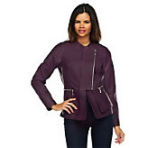 Jennifer Hudson Collection Faux Leather Jacket with Zipper Detail - A228647
