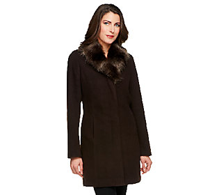 Product image of Dennis Basso Faux Wool Coat with Removable Faux Fox Fur Collar