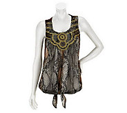 M by Marc Bouwer Animal Print Sleeveless Embellished Top - A233547