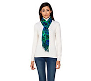 Isaac Mizrahi Live! Floral and Painterly Stripe Scarf - A235347