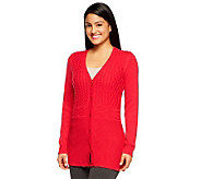 Liz Claiborne New York Cotton Cashmere Mixed Stitch Cabled Cardigan - A236647