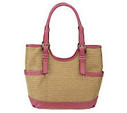 As Is B. Makowsky Straw Tote with Leather Trim & Buckle Accents - A238847