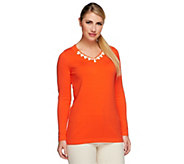 Susan Graver Long Sleeve V-Neck Sweater with Neckline Embellishment - A251647