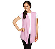 LOGO Layers by Lori Goldstein Draped Cascade Front Vest - A253747