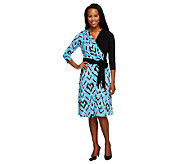 Bob Mackies Printed 3/4 Sleeve Wrap Dress with Sash - A254147