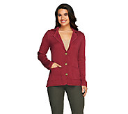 Liz Claiborne New York Cotton Cashmere Blazer with Elbow Patches - A256447