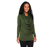 George Simonton Cowl Neck Sweater Knit Top with Blouson Waist - A256947