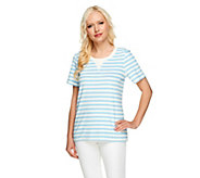 As Is Denim & Co. Active Knit Terry Short Sleeve Top Striped Top - A262147