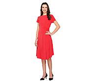 George Simonton Milky Knit Cap Sleeve Dress with Asymmetric Hem - A262247