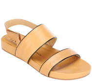 Isaac Mizrahi Live! Double Strap Leather Sandals
