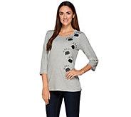 Quacker Factory Rhinestone Paw Print 3/4 Sleeve T-Shirt - A268447