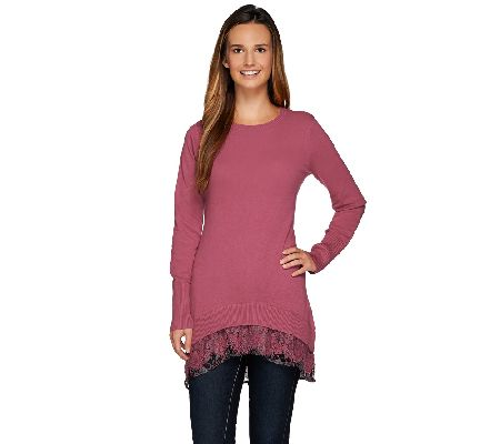 LOGO by Lori Goldstein Cotton Cashmere Sweater with Lace Trim - A268747