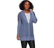 H by Halston Snap Front Marled Long Sleeve Cardigan - A271147