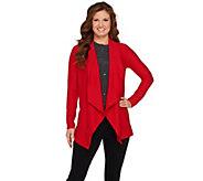Susan Graver Textured Knit Drape Front Cardigan - A272347