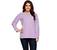 Denim & Co. Fleece V-neck Top with Neckline Embroidery - A273547