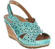 Earth Leather Perforated Peep-toe Wedges - Aries - A274247