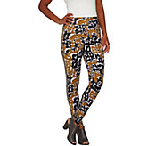LOGO by Lori Goldstein Printed Knit Ankle Pants w/ Tuxedo Stripe - A276747