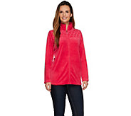 As Is Quacker Factory Glam Velour Zip Front Jacket w/ Quilted Yoke - A279547