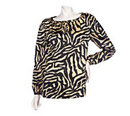 As Is Dennis Basso Printed Stretch Charmeuse Top - A280747