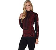 Susan Graver Printed Liquid Knit Long Sleeve Turtleneck Top - A281147