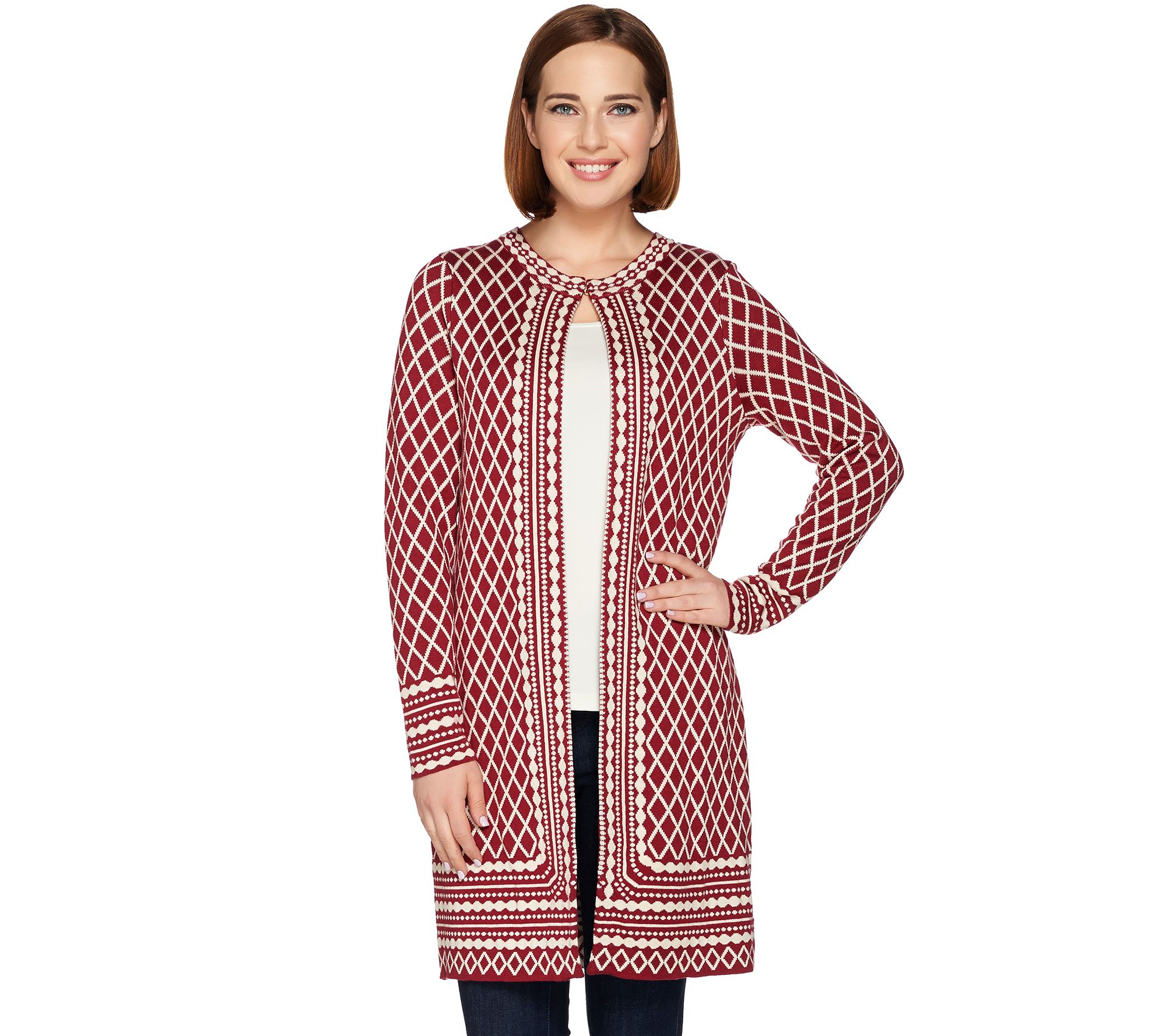 C. Wonder Long Sleeve Jacquard Knit Sweater Coat - Page 1 — QVC.com