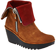 FLY London Suede Foldover Boots with Size Zip - Yex - A283447