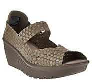 As Is Skechers Woven Open-Toe Wedges w/Memory Foam - Parallel - A283647