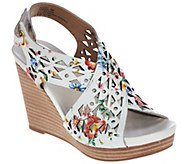 As Is Me Too Leather Perforated Cross Strap Wedges - Aubree - A283747