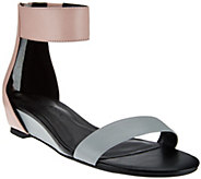 As Is H by Halston Leather Sandal with Mini Hidden Wedge - Bethany - A283847