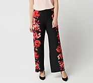 Susan Graver Printed Liquid Knit Pull-On Palazzo Pants - Regular - A286747