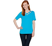 Susan Graver Liquid Knit V-Neck Short Sleeve Cut Out Top - A287647