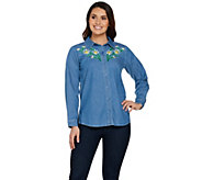 Bob Mackies Floral Embroidered Classic Shirt - A288447