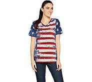 Denim & Co. American Flag Print Short Sleeve V-Neck Top - A291647