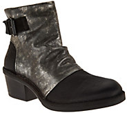 As Is FLY London Leather Block Heel Boots - Dape - A293047