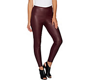H by Halston Petite Faux Stretch Leather and Ponte Leggings - A294047