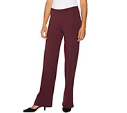 H by Halston Regular Pull-On Ponte Wide Leg Pants - A294247