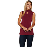 Susan Graver Liquid Knit Mock Neck Sleeveless Top with Keyhole - A294847