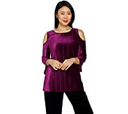 Dennis Basso Pleated Stretch Velvet Cold Shoulder Top - A298247