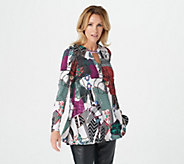 Attitudes by Renee Long Sleeve Swing Top with Keyhole Neck - A298647